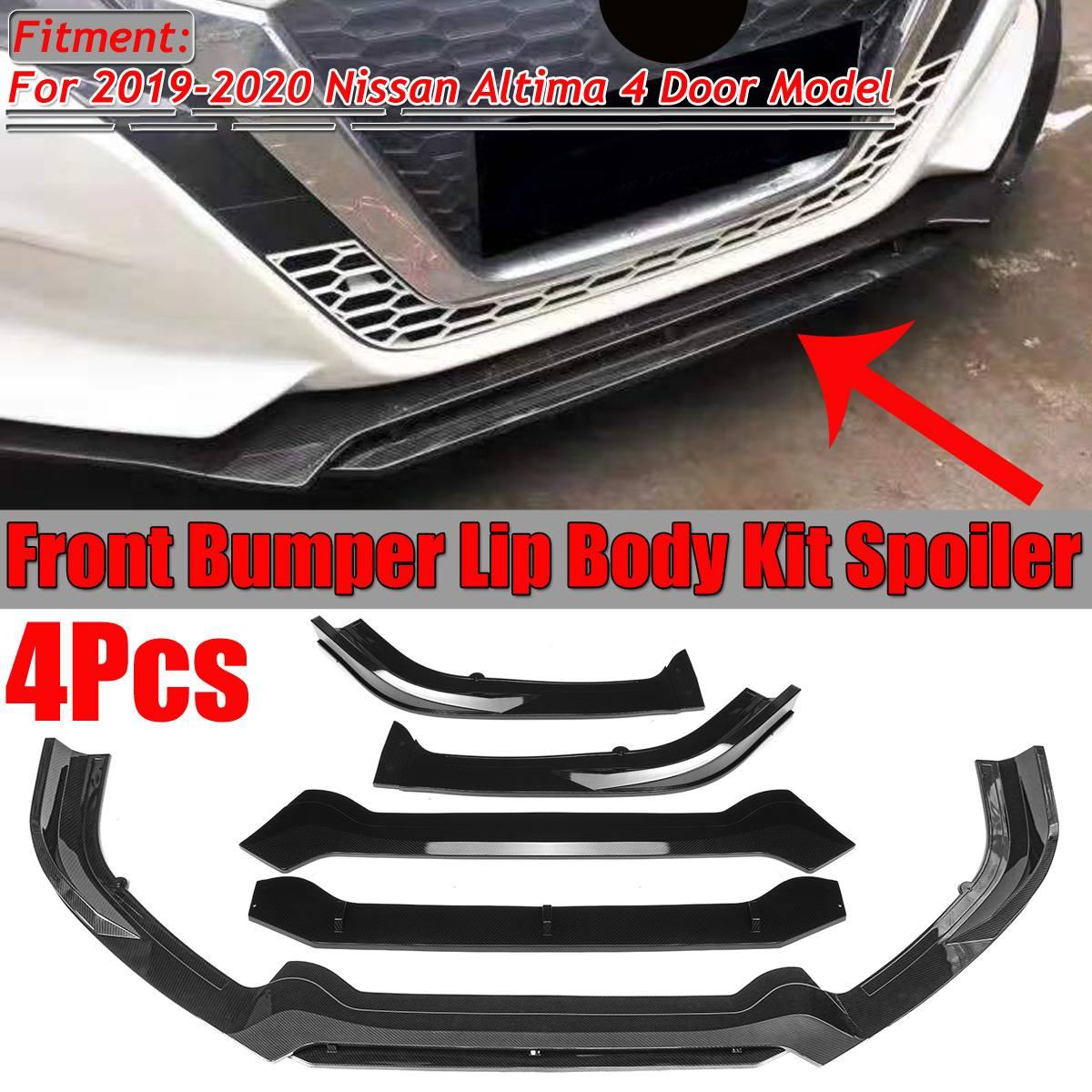 Um conjunto de fibra carbono olhar/preto carro amortecedor dianteiro splitter lábio corpo kit spoiler difusor protetor para nissan altima 2019 2020
