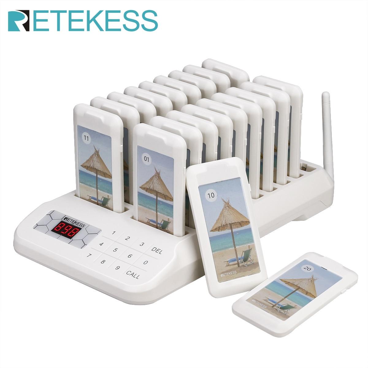 Retekess-TD172 لوحة مفاتيح تعمل باللمس مع 20 جهاز استقبال للمطعم ونظام الاتصال اللاسلكي للكنيسة والمقهى والمستشفى