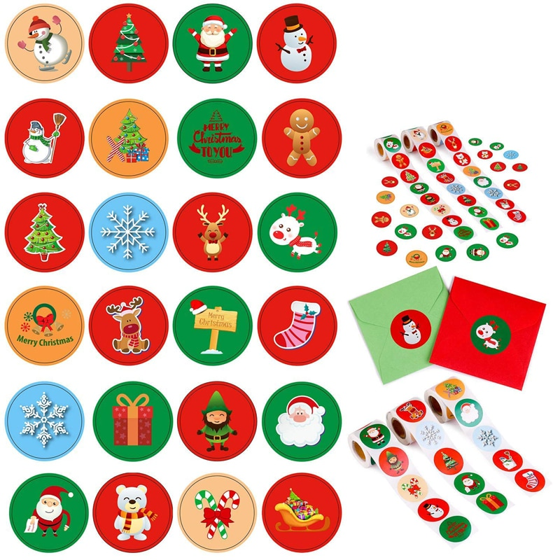 Holiday Stickers Christmas Sticker Santa Claus Deer Decorative Adhesive Reward Sticker School Suppli