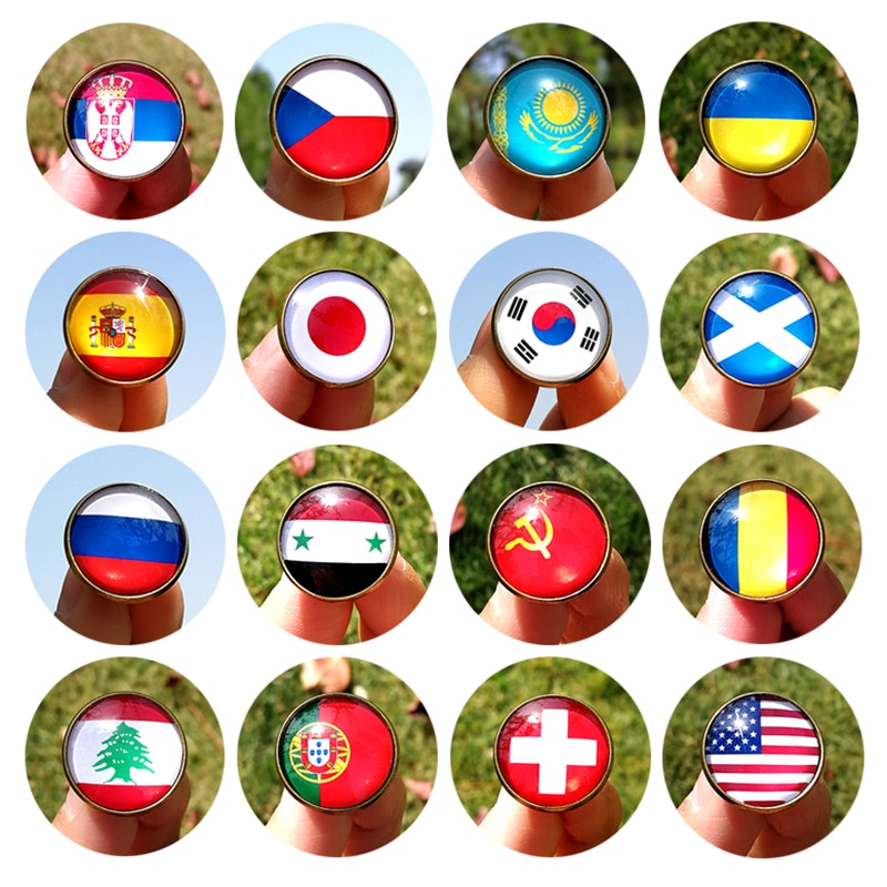 Nengdou G2 ukraine korea ussr venezuela romania czech lebanon syria country flag badge cute metal pin for clothes backpack icon