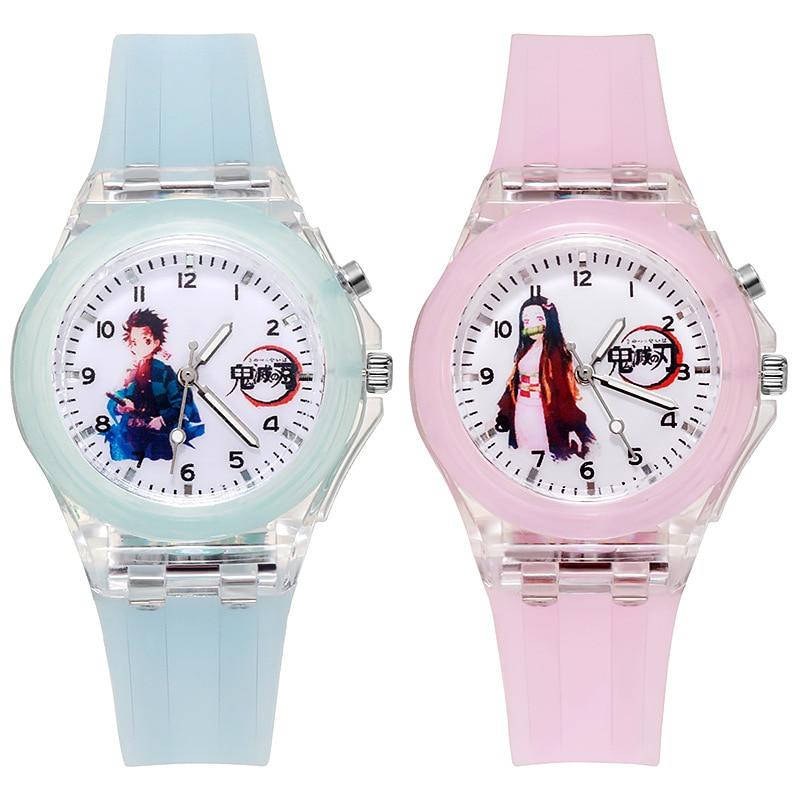 Anime Demon Slayer Watch LED Luminous Watch Cartoon Kamado Tanjirou Young Wrist Watch For Student Ad