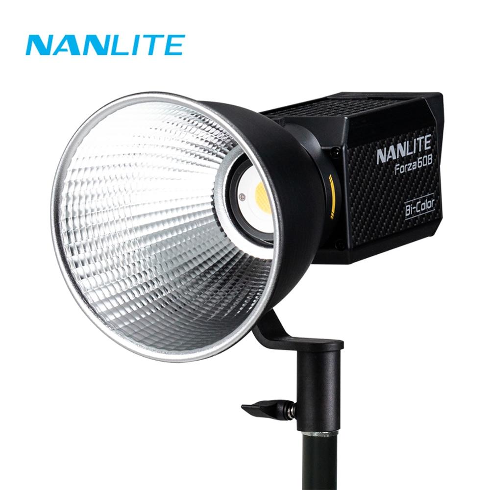 Nanguang Nanlite 60B 이중 색상 2700K-6500K 와이드 앵글 휴대용 사진 비디오 라이트 60 60W 5600K 야외 LED COB 라이트 Monolight