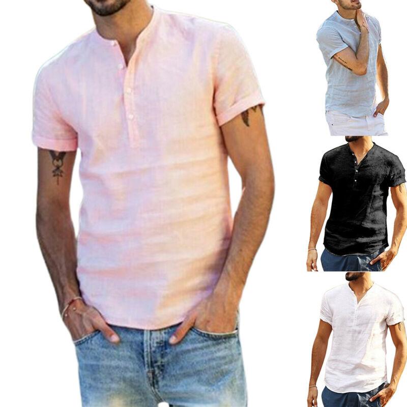 Camiseta de manga corta con cuello levantado para hombre, playera de verano...