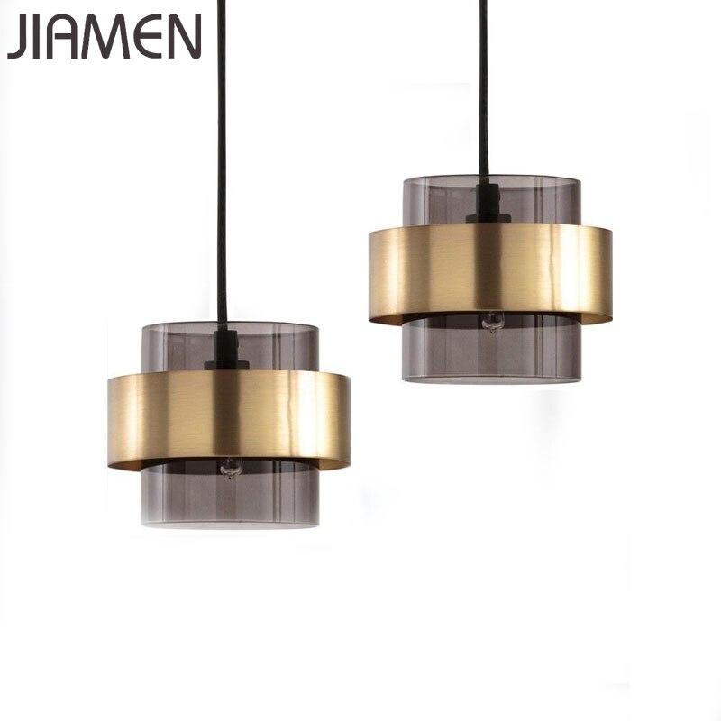 JIAMEN Modern Gold Pendant Lamp Glass Hanging Lights Fixtures Home Dining Room Kitchen  Fixtures Industrial Loft Creative Decor