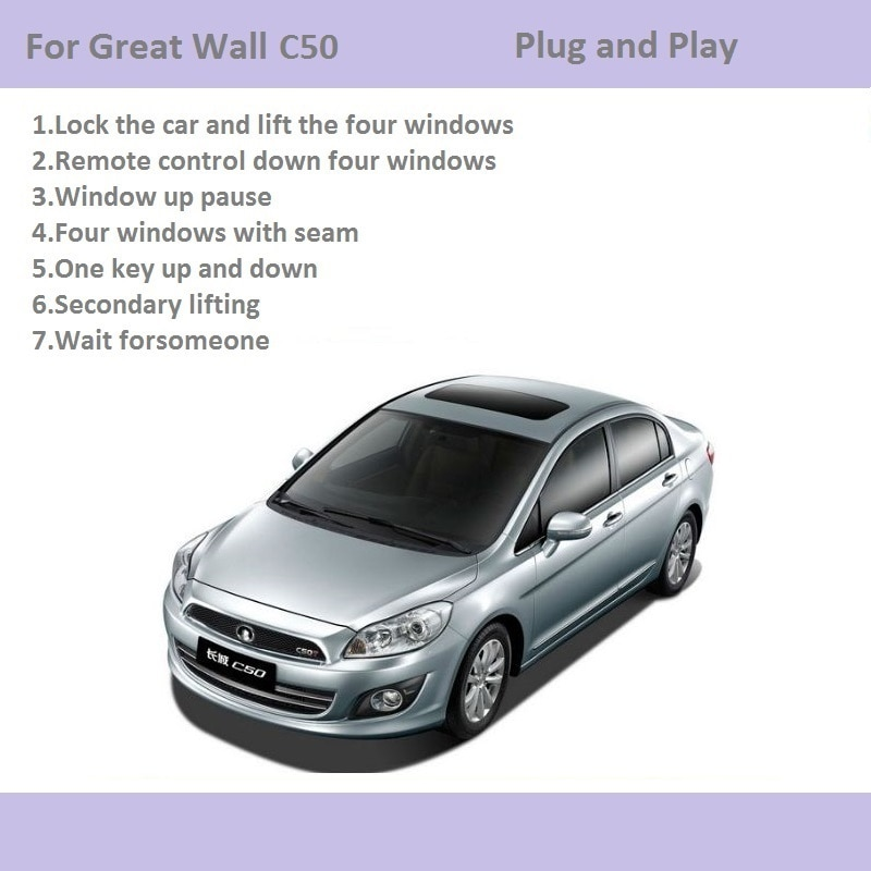 Car Automatic Window Closer Closing&Open Control By Remote Control/One Key Window Lifter For Great Wall Voleex C50 Accessories