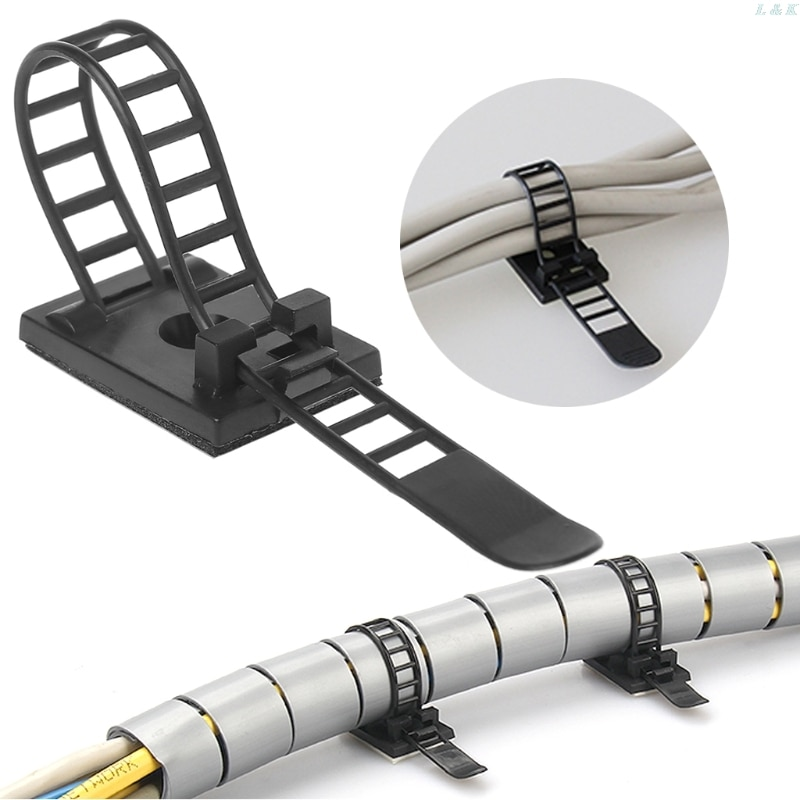 100 Pcs Einstellbare Kabel Clips Selbst-Adhesive Kabel Fixer Draht Klemme Strap Halter l29k