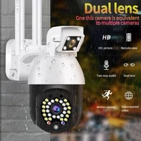 1080P Fake Camera Wireless WiFi IP Smart Camera Dual Lens CCTV 29 Flashing Red LED Lights Webcam for Home and Outdoors