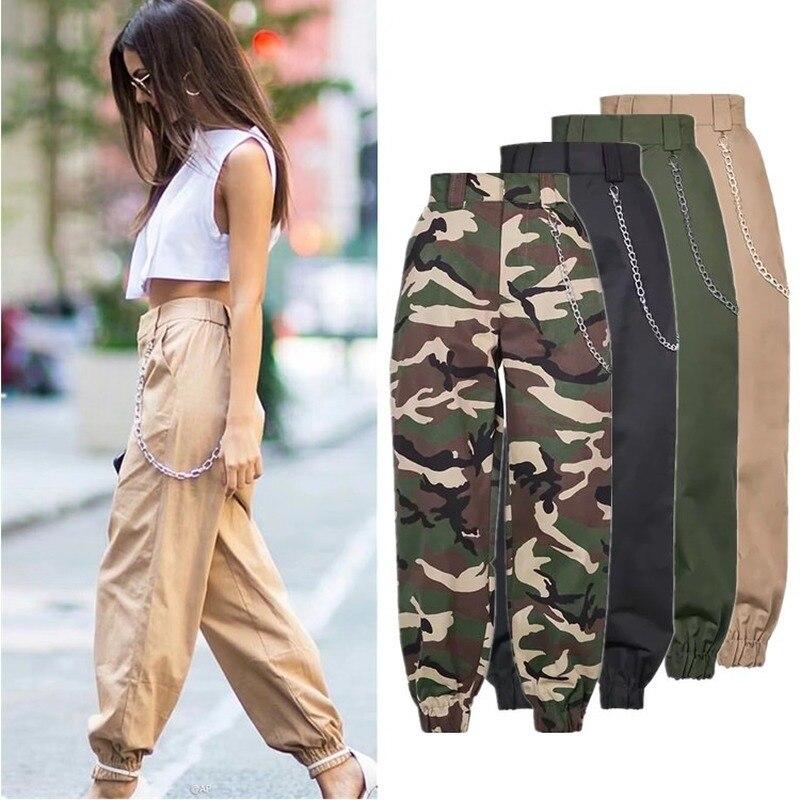 Pantalones casuales de cintura alta para mujer, pantalones de chándal militares de camuflaje con cadena, pantalones sueltos de camuflaje