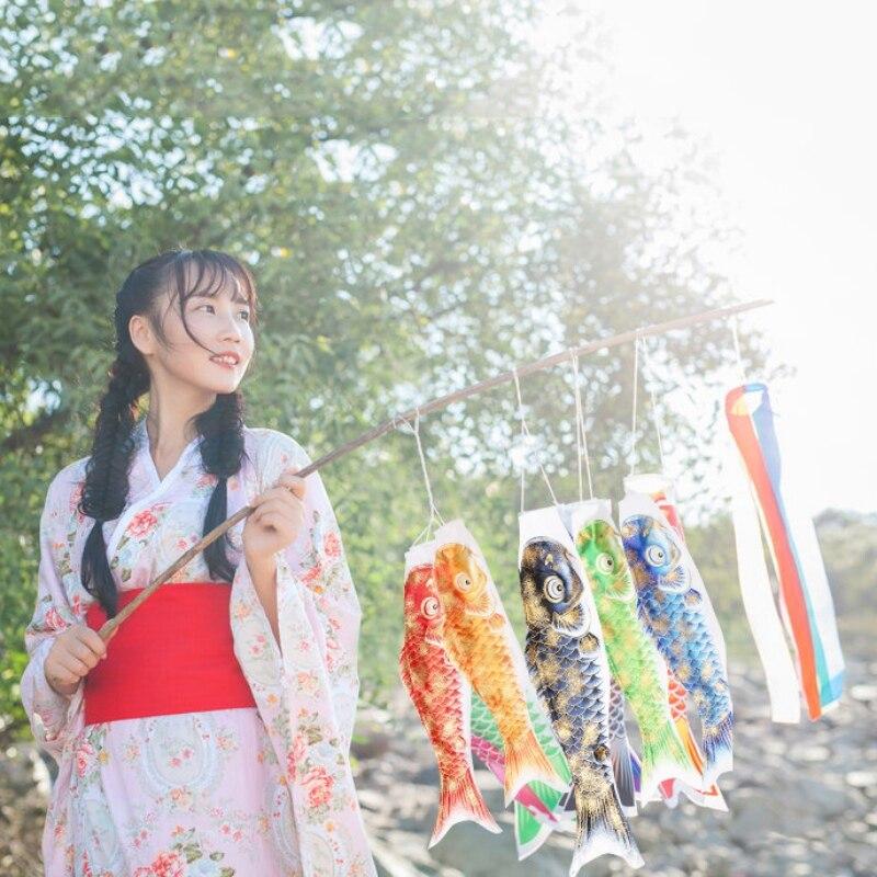 50/70/110 CM Koi Nobori Japanese  Hanging Decor Colorful Carp Wind Sock Koinobori Fish Flag Outside Floating Decor