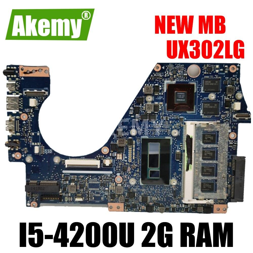 Akemy UX302LG placa base placa madre para ASUS UX302L UX302LG UX302 placa base de computadora portátil prueba bien I5-4200U 2G RAM GT730M/2G
