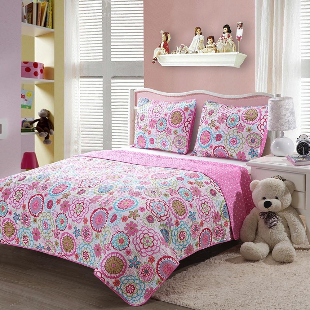 Rosa Blumen Tupfen Quilt Sets Blau Dinosaurier Plaid Tagesdecken Reversible Mädchen Jungen Bettwäsche Set