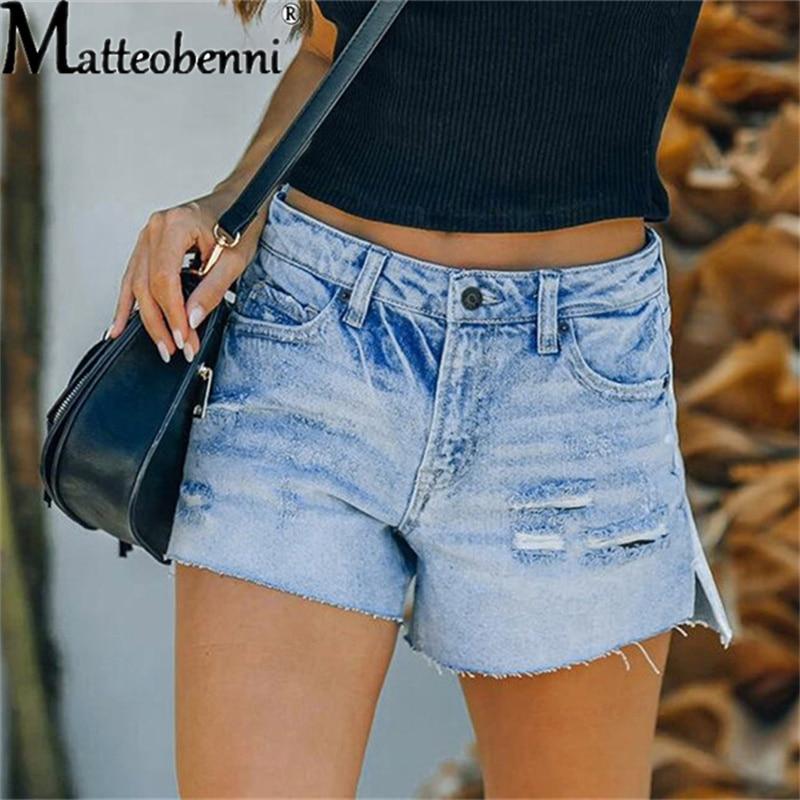 Повседневные джинсовые шорты, рваные женские джинсовые шорты с высокой эластичной талией, однотонные винтажные прямые шорты с высокой тали...