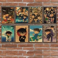 cartoon anime poster detective conan kraft paper prints and posters wall art retro posters for home room wall decor sticker