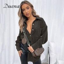 Duena Corduroy Winter Jacket Women Button Collar Outwear Autumn 2021 Fashion Full Sleeve Casual Over