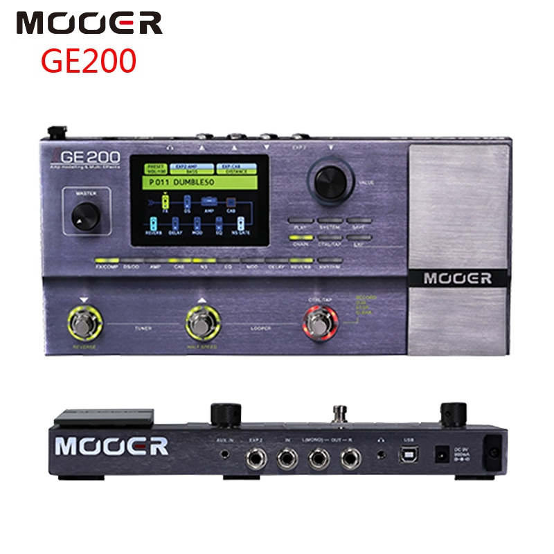 Modelado de amplificador MOOER GE200 y Pedal de efectos de guitarra de múltiples efectos