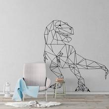 Autocollant mural géométrique t-rex pour chambre de garçon   Grand autocollant mural, pour chambre denfant et garçon, décor mural en vinyle, motif dinosaure Animal du Zoo, pour chambre à coucher