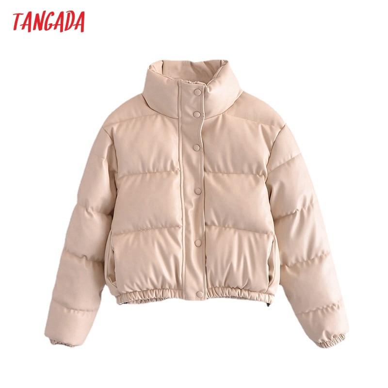 سترات تانغدا 2021 الشتوية للنساء من الجلد الصناعي والبيج معطف ذو سحاب كبير معطف نسائي سميك من البولي يوريثان QN191