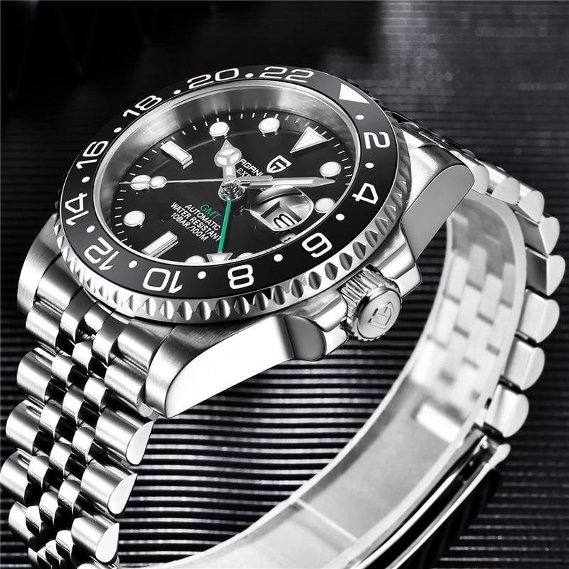 PAGANI DESIGN, relojes GMT de 40mm con bisel giratorio, reloj con cristal de zafiro mecánico para hombre, de la mejor marca, reloj impermeable de 100M para hombres de negocios