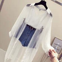 Korean Lot Sun Coat Women 2020 New Summer Fashion Thin POLO collars in a row Long sleeves Colour sun