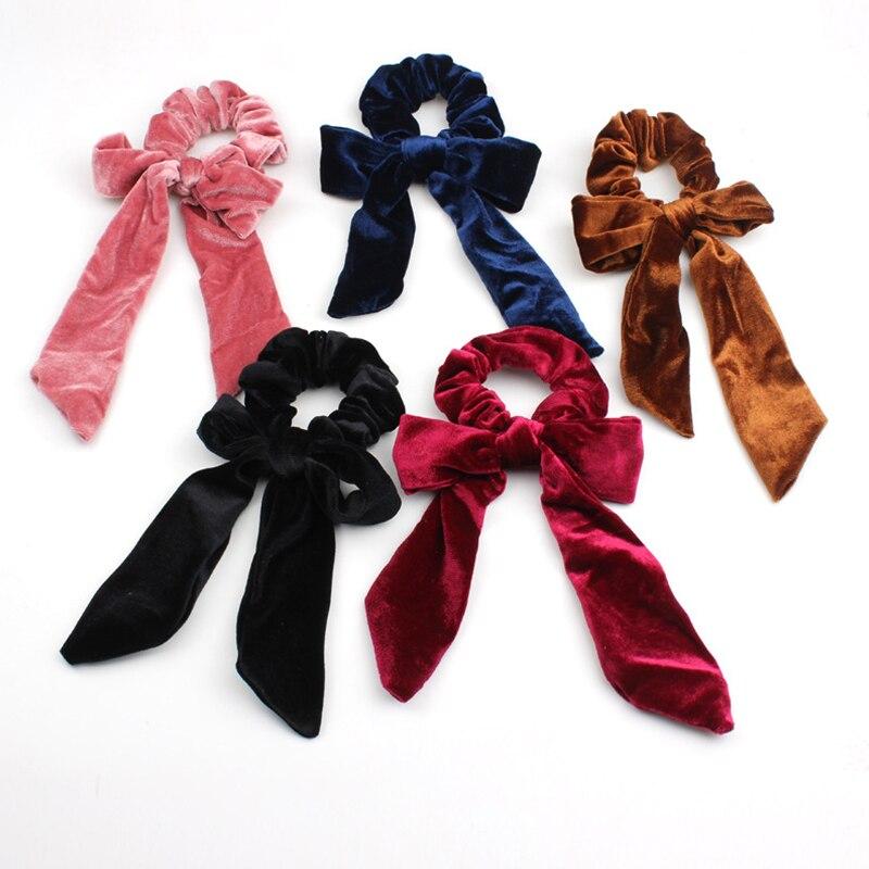 2020 nueva moda Scrunchie mujeres Color sólido terciopelo banda elástica del pelo lazo anillo de goma del pelo cuerdas niñas accesorios para el cabello