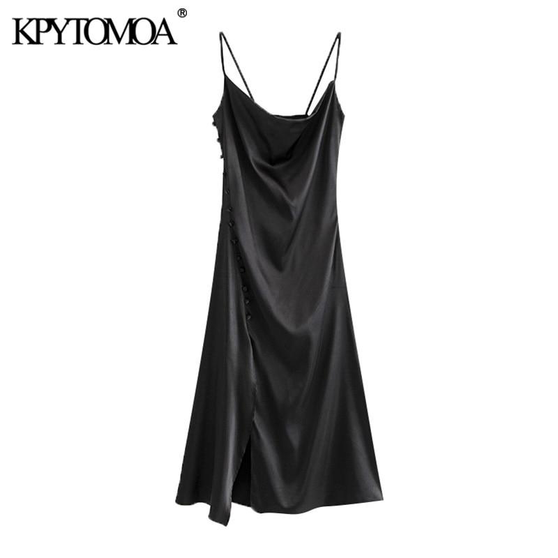 KPYTOMOA Women 2020 Chic Fashion Side Buttons Slit Cozy Midi Dress Vintage Backless Thin Straps Female Dresses Vestidos Mujer