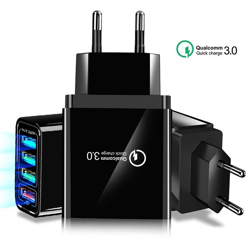 Chargeur rapide 48W 3.0 4.0 4 ports USB pour iPhone 11 pro X XS 7 Samsung Huawei P20 Portable QC 3.0 chargeur rapide de voyage mural