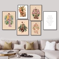scandinavian style fashion woman flower wall art canvas painting nordic posters and prints wall pictures for living room decor