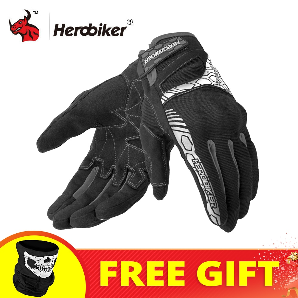HEROBIKER Motorcycle Gloves Summer Breathable Motocross Racing Gloves Touch Screen Guantes Moto Off-Road Motorbike Riding Gloves