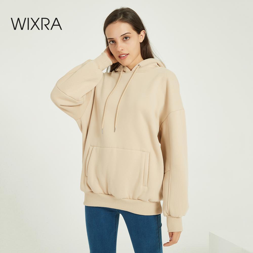 Wixra mujer Casual sudaderas con capucha cálido terciopelo manga larga suelta sólido tapas Otoño Invierno primavera suéter
