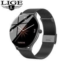 LIGE New Women Watch Full Touch Screen Smart Watch Men Heart Rate Blood Pressure Call Reminder Funct