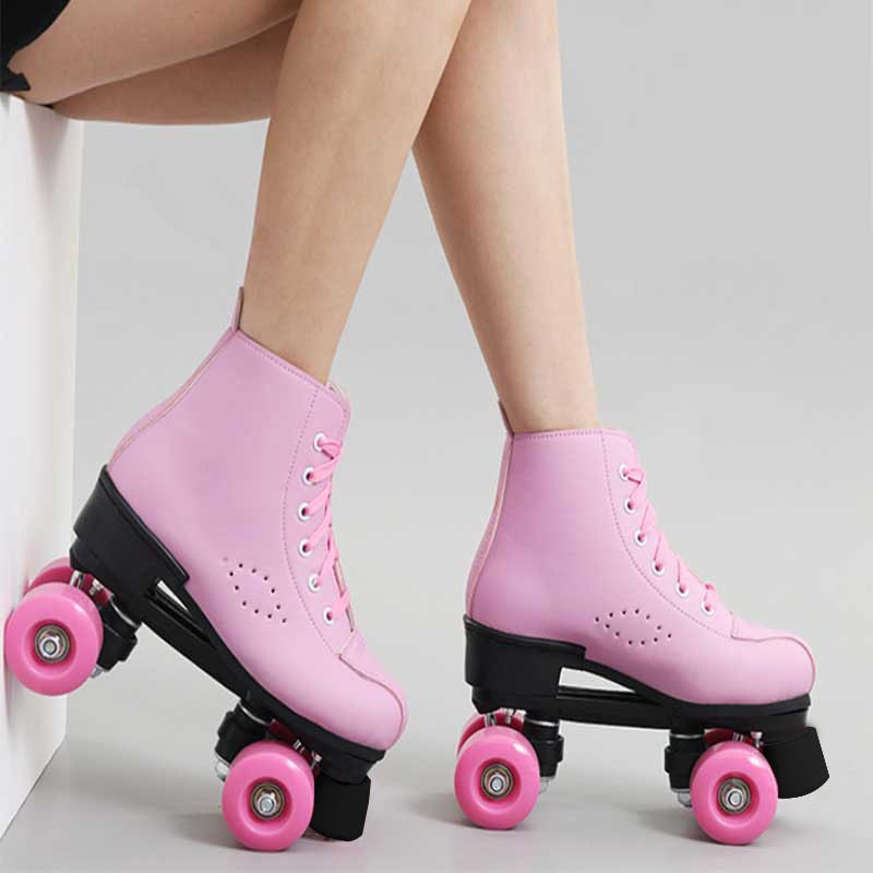 Artificial Leather Roller Skates Double Line Skates Women Men Adult Two Line Skate Shoes Patines Black Pink Pu 4 Wheels Patins
