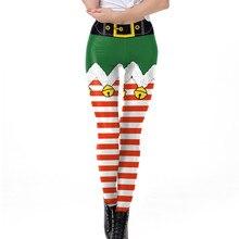 Leggings de impresión de Navidad poner cadera elástica campana raya alta cintura Legging transpirable feliz pantalones navideños Vetement Femme # sw