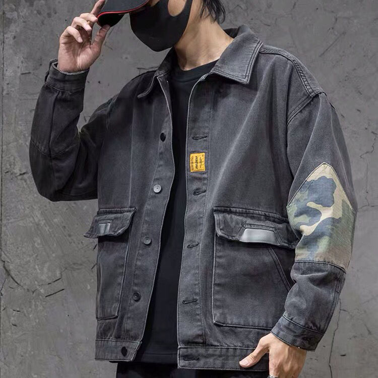 Spring denim jacket men loose trend camouflage frock jacket large size fat trend Joker autumn jacket tide