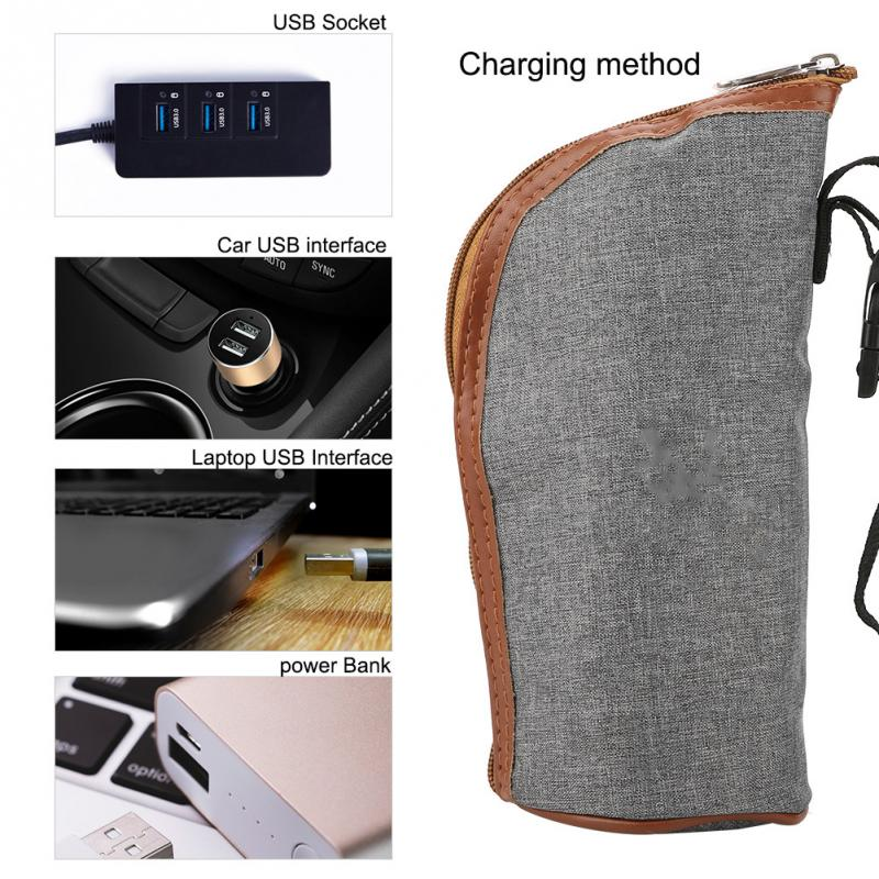 Calentador de biberones USB portátil, bolsa aislante, taza de viaje, termostato de leche, bolsa de termostato de leche, calentador de biberones USB