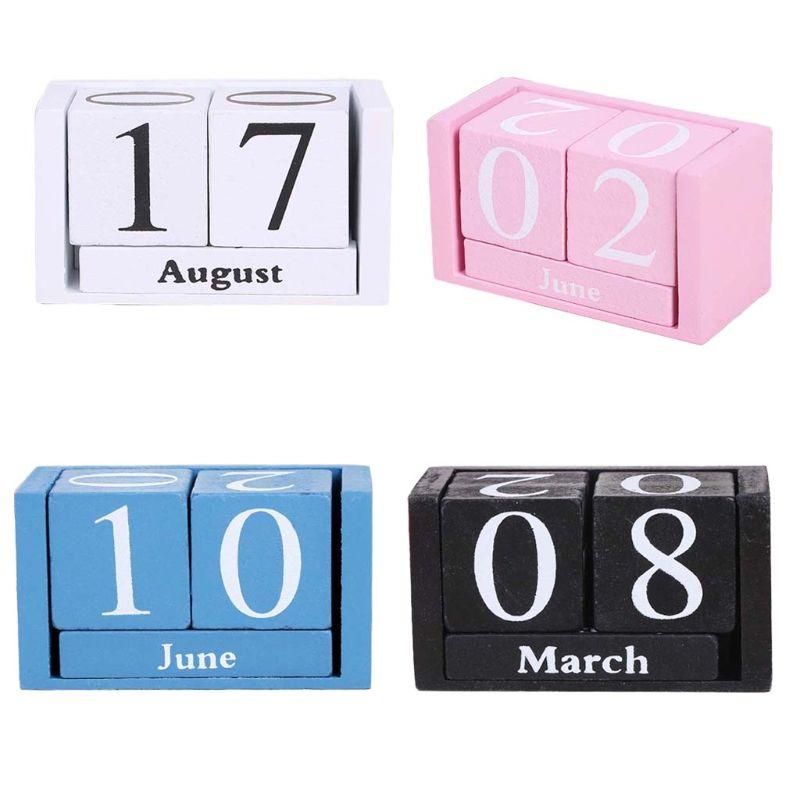 Vintage Vintage Wooden Perpetual Calendar Eternal Blocks Month Date Display Desktop Accessories Photography Props Home Office