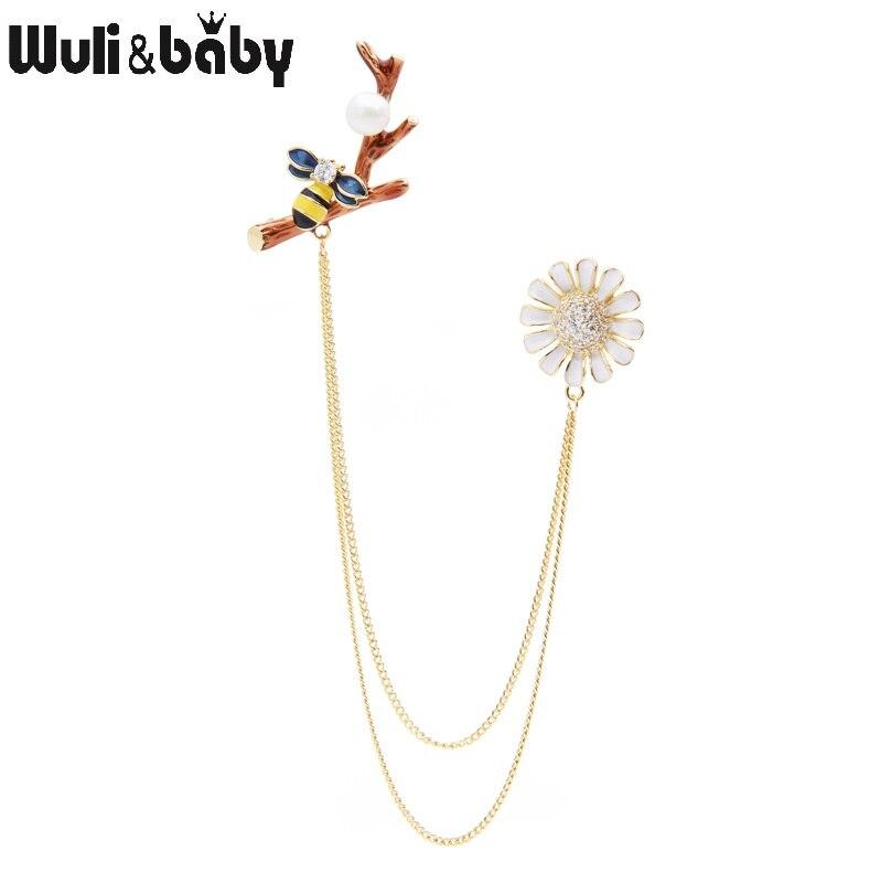 Wuli & bebê zircão esmalte abelha margarida flor borla broches feminino ternos camisa colarinho pinos presentes