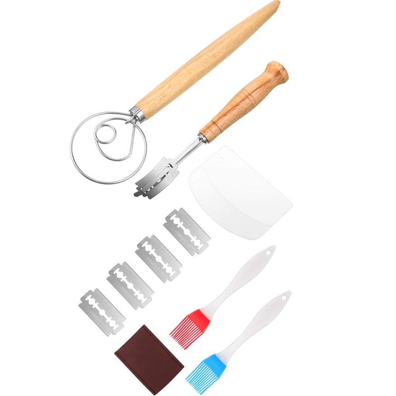 דני בצק להקציף יד בעבודת לחם צולע עם מגן כיסוי, 2 חתיכות סיליקון מברשת, בצק מגרד, בצק להקציף כלים סט