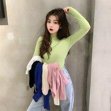 Half Turtleneck Bottoming Shirt Female Online Influencer Spring and Autumn Hong Kong Style Ins Versa