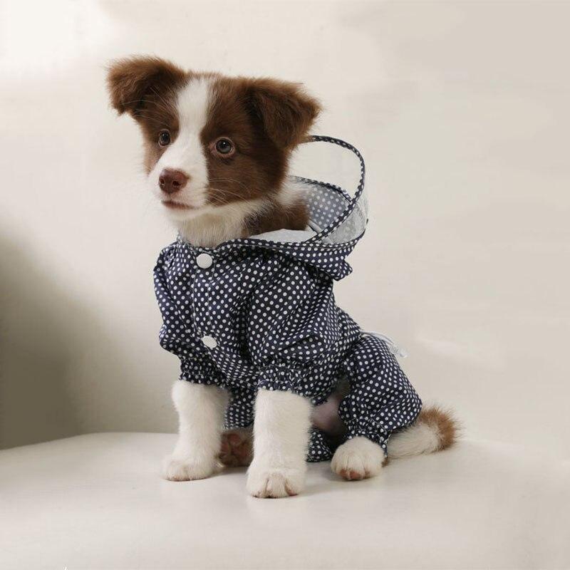 Dot Small Dog Raincoat Waterproof Puppy Dog Clothes four legs Pet Coat Rain Jacket Medium large dog poncho Breathable Raincoats