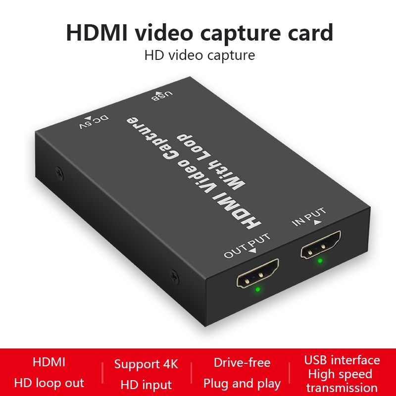 Captura de vídeo USB 2,0, HDMI a USB 2,0, tipo C, 1080P, tarjeta de captura de vídeo HD para TV, PC, PS4, Stream de juego en vivo para Windows