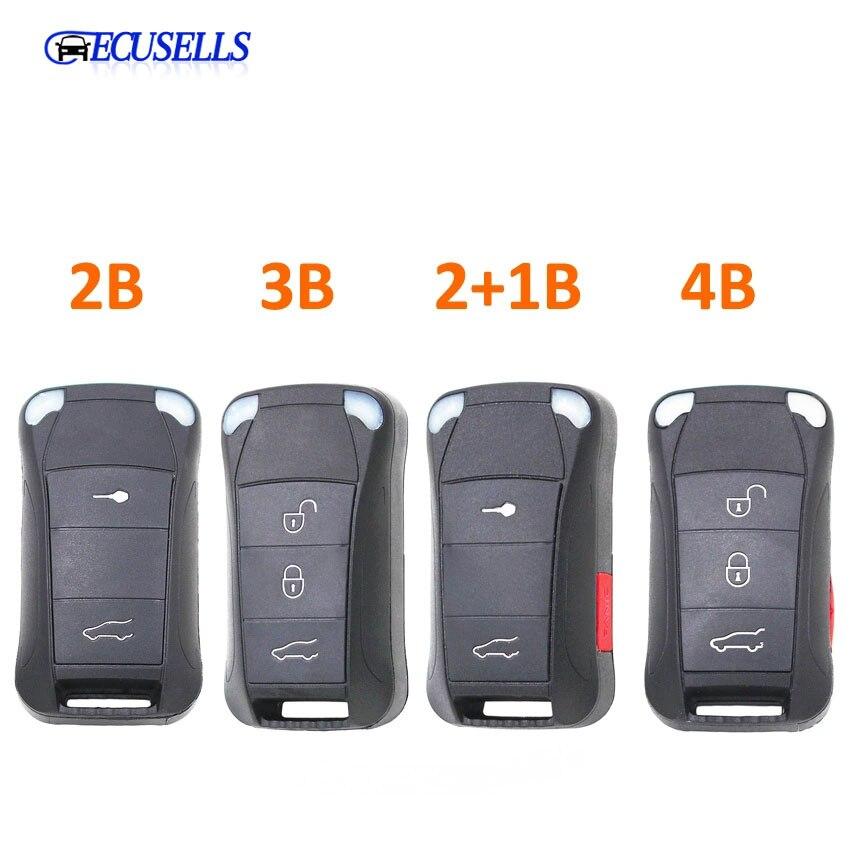 Funda de control remoto plegable 2 + Panic 3 botones 2/4/3 + 1 botones para Porsche Cayenne 2003 + hoja HU66 sin cortar