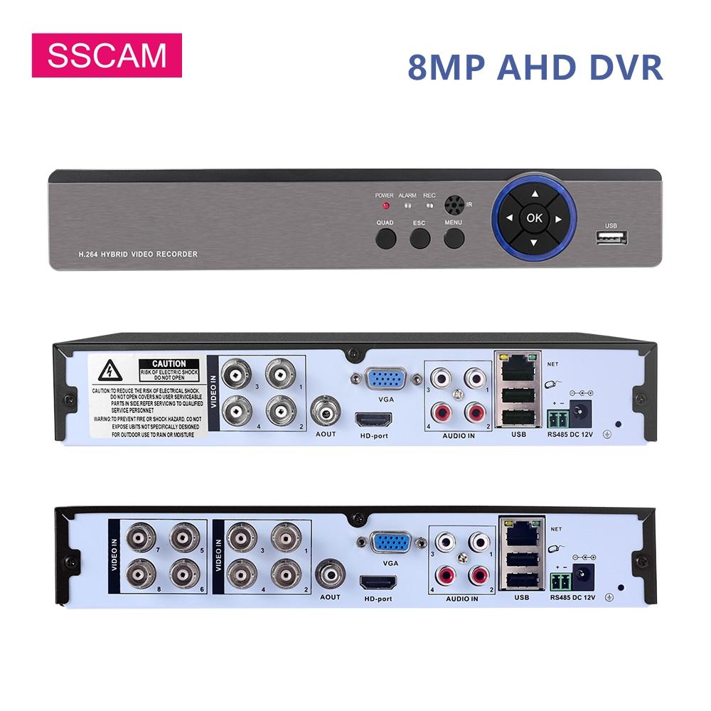 8ch 8mp ahd cctv câmera dvr h.265 + híbrido 4 k 8 megapixel nvr gravador de vídeo digital para 4mp 5mp 8mp ahd/tvi/cvi/ip câmeras