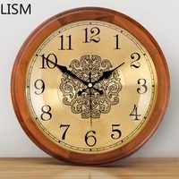 luxury retro wall clock metal silent wood living room office kitchen large creative shabby chic wall watches reloj de pared 2020