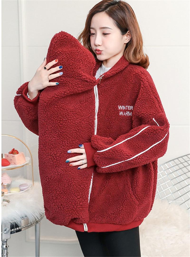 Baby Carrier Jacket Kangaroo Camo Fleece Coat Winter Maternity Tops Outerwear Coat Pregnant Women Carry Baby Pregnancy Clothings enlarge