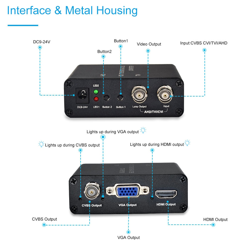 Camera Video Converter 720P 1080P TVI/AHD/CVI to HDMI/CVBS/VGA Converter looping TVI/AHD/CVI output enlarge