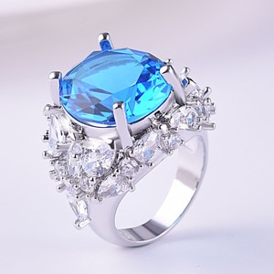 Women's 925 Silver Water Drop Pear Shaped Sapphire Zircon Ring Engagement Wedding Gift Jewelry Ring Wholesale