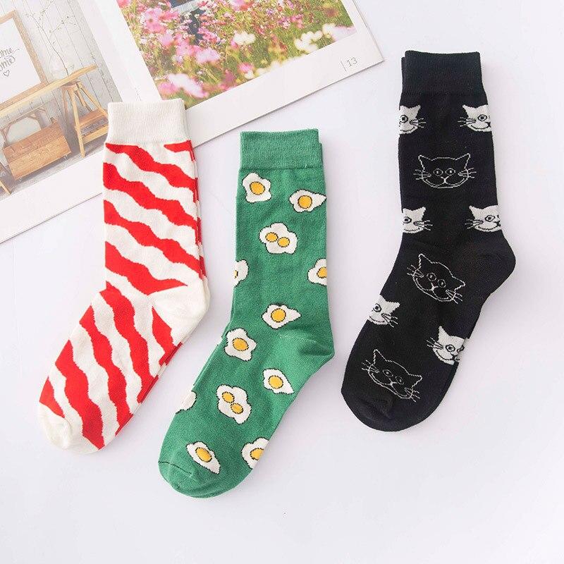 Calcetines de estilo coreano de dibujos animados Kawaii calcetines lindos vaca Panda Animal gato calcetines con huevos mujer Calcetines coloridos de moda