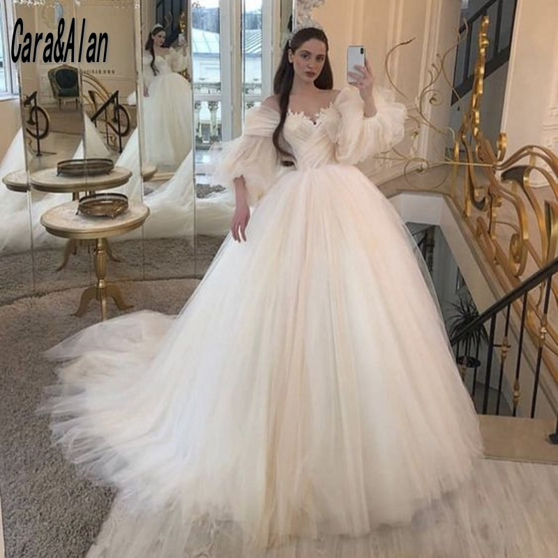 Vestidos de boda elegantes de línea A, sin mangas esponjosas, apliques para...