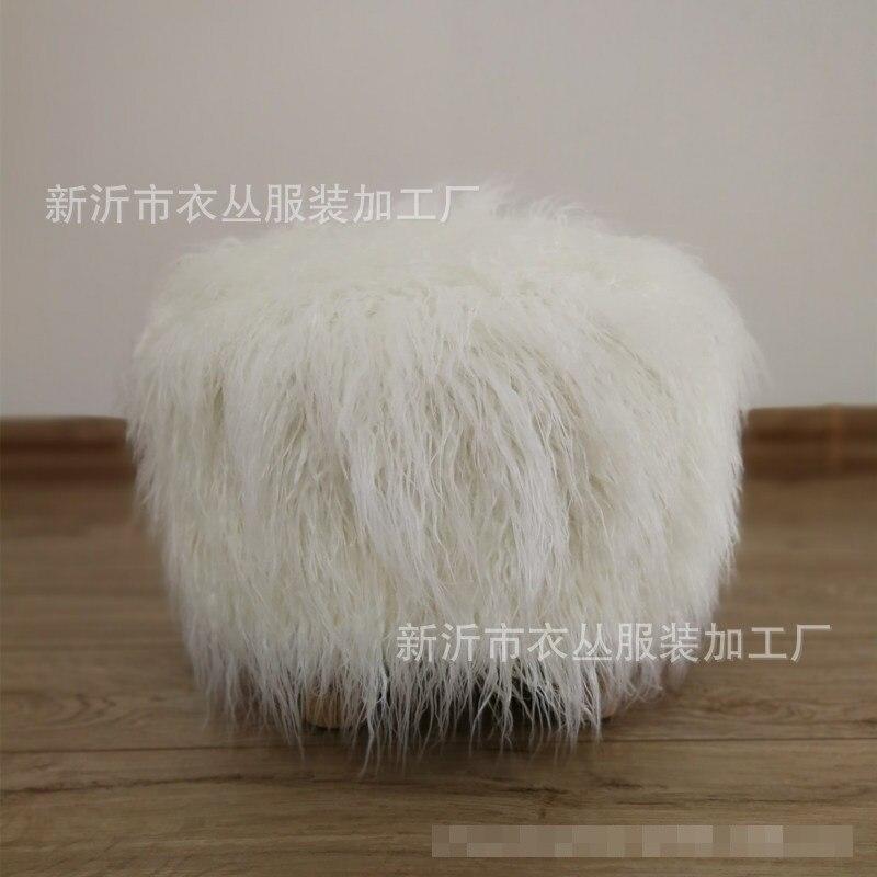 1 زوج فلوش الغبار غطاء فو الفراء غطاء كرسي ل صغيرة جولة البراز (30 سنتيمتر القطر * 20 سنتيمتر ارتفاع)