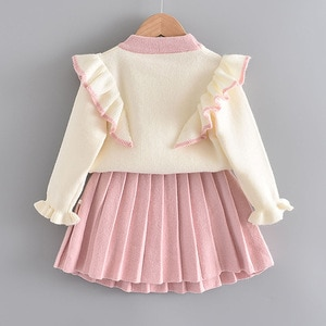 Girl's Flying Sleeve Knitted Sweater Set 2020 Autumn 2 Piece Set Middle Small Children Baby Princess Dress Girls Sweater + Skirt